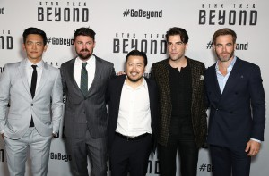 John Cho, Karl Urban, Director Justin Lin, Zachary Quinto and Chris Pine at the Australian premiere of Star Trek: Beyond held at The Entertainment Quarter, Moore Park, Sydney on July 7, 2016.