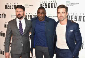 Karl Urban, Idris Elba and Chris Pine at the New York Premiere of Star Trek: Beyond held at Crosby Street Hotel, NYC on July 18, 2016.