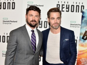 Karl Urban and Chris Pine at the New York Premiere of Star Trek: Beyond held at Crosby Street Hotel, NYC on July 18, 2016.