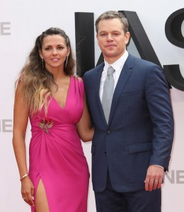Luciana Barroso and Matt Damon at the European premiere of Jason Bourne held at the Odeon, Leicester Square, London on July 7, 2016.