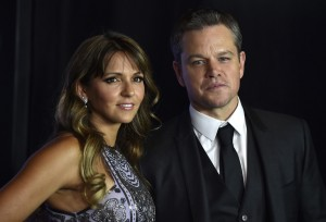Luciana Barroso and Matt Damon at the Las Vegas premiere of Jason Bourne.