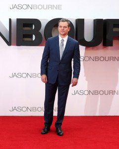 Matt Damon at the European premiere of Jason Bourne held at the Odeon, Leicester Square, London on July 7, 2016.