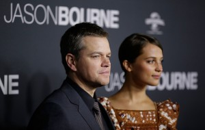 Matt Damon and Alicia Vikander at the Australian premiere of Jason Bourne held at Hoyts Entertainment Quarters, Moore Park, Sydney on July 3, 2016.