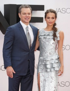Matt Damon and Alicia Vikander at the European premiere of Jason Bourne held at the Odeon, Leicester Square, London on July 7, 2016.
