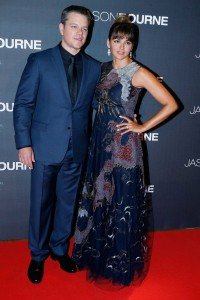 Matt Damon and Luciana Berroso at the Paris premiere of Jason Bourne held at Cinéma Pathé Beaugrenelle, Paris, France on July 12, 2016.