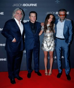 Paul Greengrass, Matt Damon, Alicia Vikander and Vincent Cassell at the Paris premiere of Jason Bourne held at Cinéma Pathé Beaugrenelle, Paris, France on July 12, 2016.