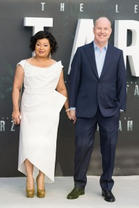 Yvonne Walcott and David Yates at the European premiere of The Legend of Tarzan held at Odeon, Leicester Square, London on July 5, 2016.
