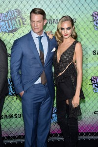 Joel Kinnaman and Cara Delevingne at the World premiere of Suicide Squad held at The Beacon Theatre, New York City on August 1, 2016.