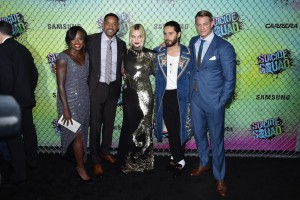 Viola Davis, Will Smith, Margot Robbie, Jared Leto and Joel Kinnaman at the World premiere of Suicide Squad held at The Beacon Theatre, New York City on August 1, 2016.