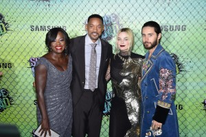 Viola Davis, Will Smith, Margot Robbie and Jared Leto at the World premiere of Suicide Squad held at The Beacon Theatre, New York City on August 1, 2016.
