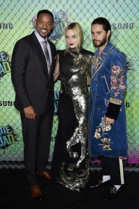 Will Smith, Margot Robbie and Jared Leto at the World premiere of Suicide Squad held at The Beacon Theatre, New York City on August 1, 2016.
