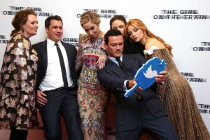 Paula Hawkins, Tate Taylor, Emily Blunt, Luke Evans, Rebecca Ferguson and Haley Bennett The Girl on the Train World Premiere London
