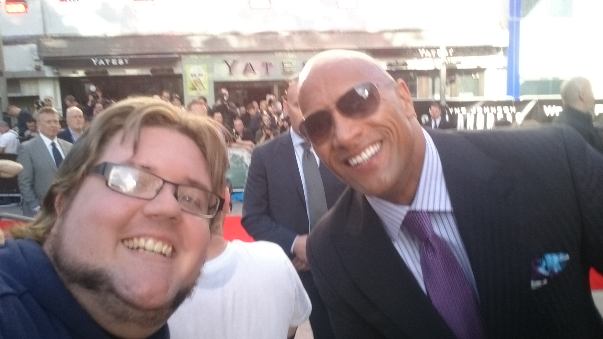 The Rock meets fans at the San Andreas Premiere in London