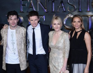 Ezra Miller, Eddie Redmayne, J.K. Rowling and Carmen Ejogo Fantastic Beasts and Where to Find Them European Premiere London Arrivals