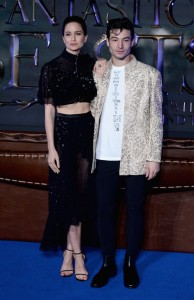 Katherine Waterston and Ezra Miller Fantastic Beasts and Where to Find Them European Premiere London Arrivals