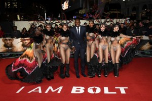 Usain Bolt and Dancers I Am Bolt World Premiere London Leicester Square