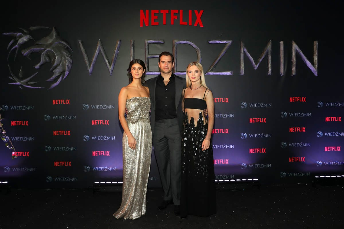 Anya Chalotra, Henry Cavill and Freya Allan Netflix's The Witcher Polish Premiere Warsaw Poland