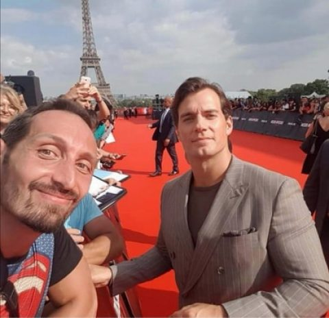 Benjamin Bureau with Henry Cavill at the Mission: Impossible Fallout premiere in Paris