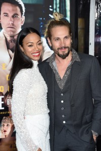 Zoe Saldana and Marco Perego Warner Bros Live By Night Hollywood Premiere Los Angeles