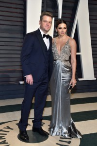 Matt Damon and Luciana Barroso 2017 Vanity Fair Oscars After Party Red Carpet