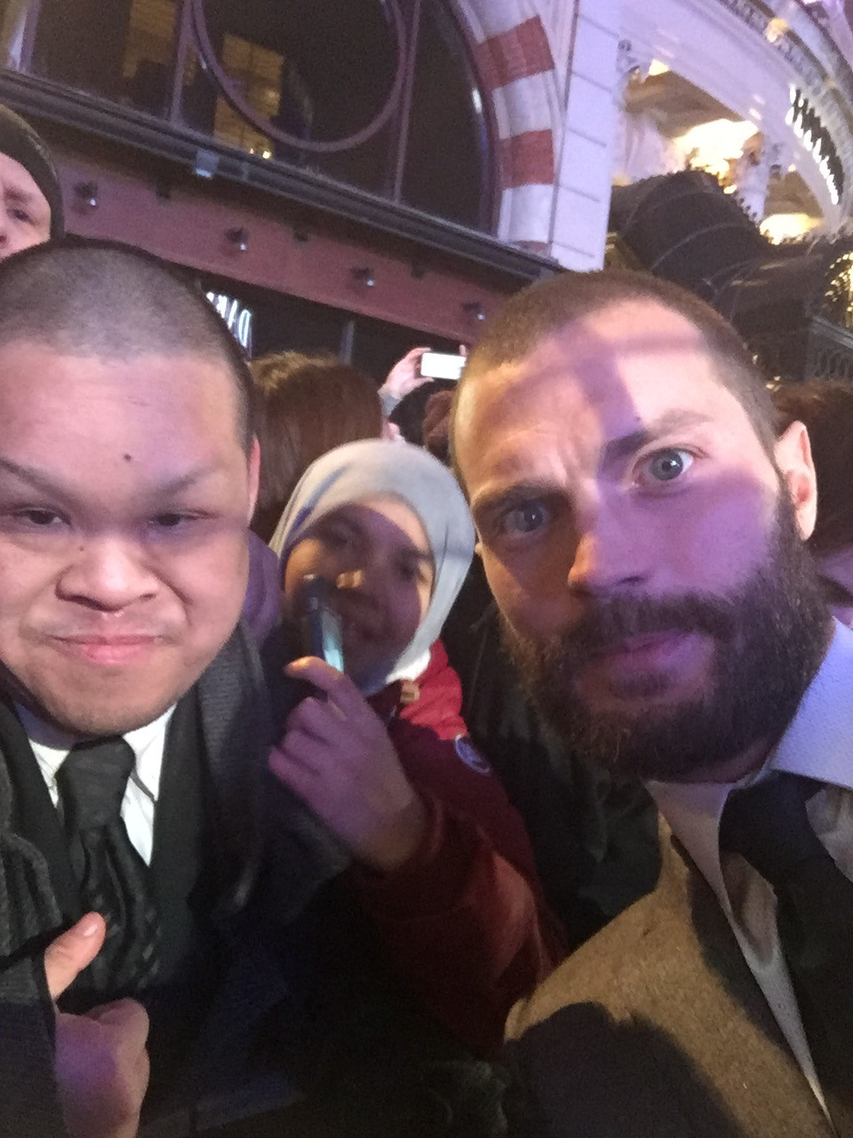 Jamie Dornan with fans Fifty Shades Darker Premiere