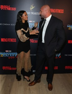 Zoe Saldana and Dave Bautista Disney Marvel Guardians of the Galaxy Vol. 2 New York City Screening Premiere