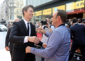 Ansel Elgort and Kevin Spacey Baby Driver European Premiere Leicester Square London