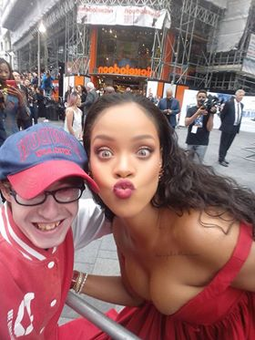 Josh Macpake meets Rihanna - Valerian Premeire London Wall of Fame
