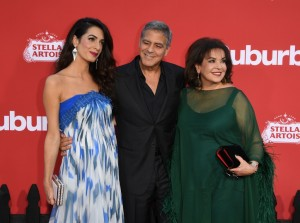 Amal and George Clooney and Baria Alamuddin Suburbicon Los Angeles Premiere