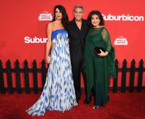 Amal and George Clooney and Baria Alamuddin mum mother in lawSuburbicon Los Angeles Premiere