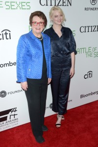 Billie Jean king and emma stone Battle of the Sexes New York Premiere
