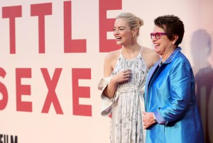 Emma Stone and Billie Jean King Battle of the Sexes European Premiere 61st BFI London Film Festival