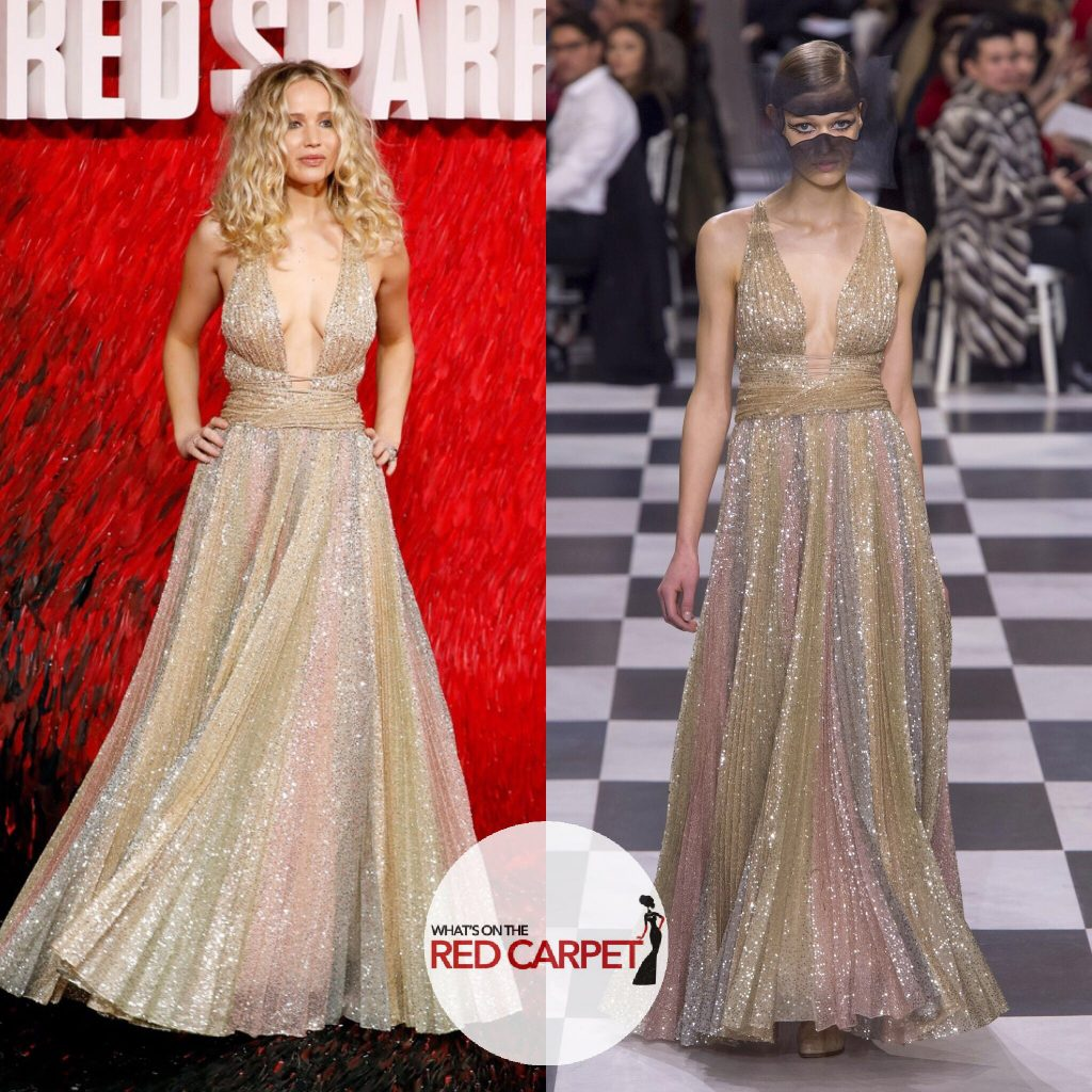 Jennifer Lawrence wears Christian Dior Spring 2018 Haute Couture to Red Sparrow premiere in London