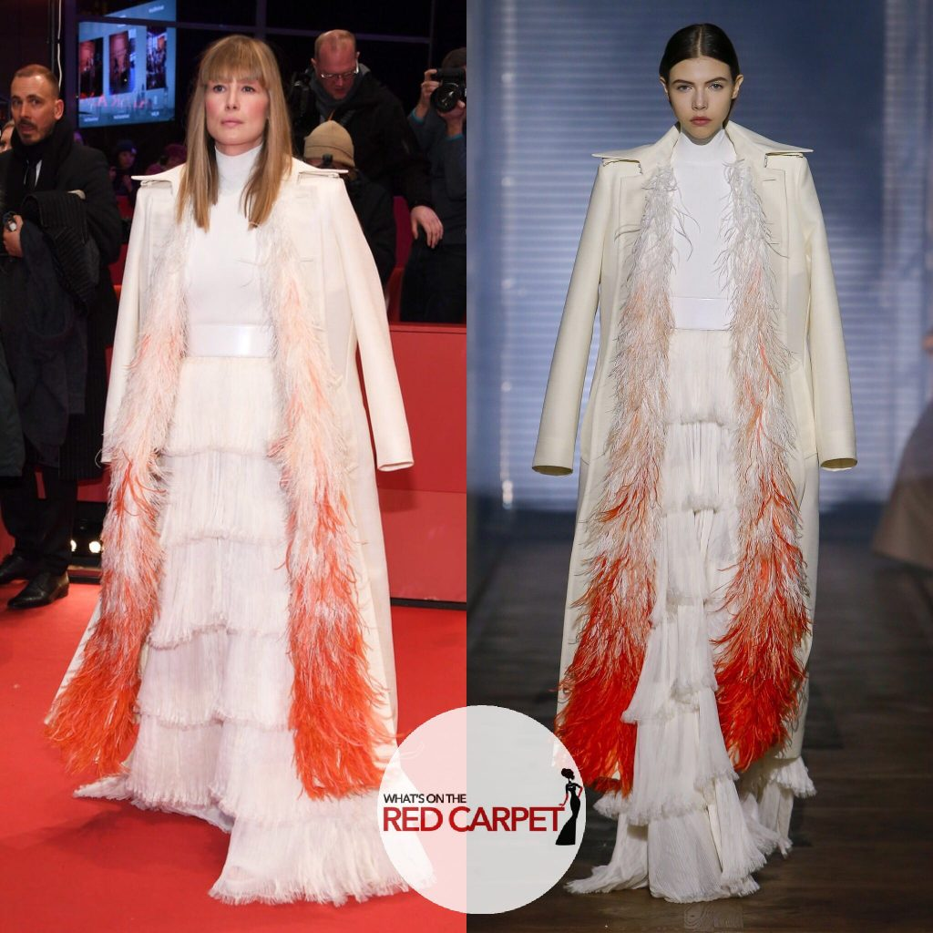 Rosamund Pike wears Givenchy Spring 2018 Couture to 7 Days in Entebbe premiere during 68th Berlinale International Film Festival