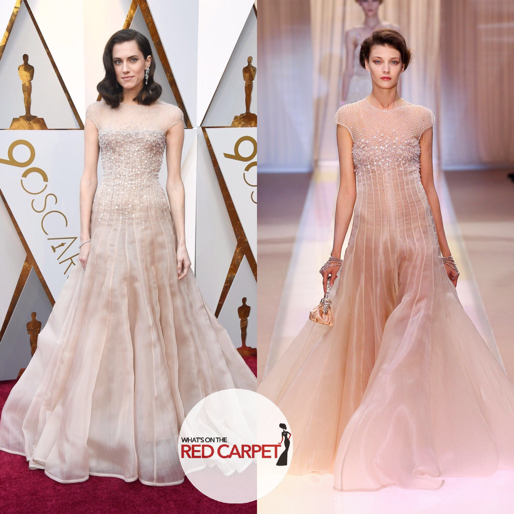 Allison Williams wears Armani Privé 2013 Couture to the 2018 Oscars 90th Annual Academy Awards fashion style red carpet