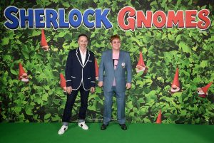 David Furnish and Elton John attend Sherlock Gnomes Family Gala Screening in London
