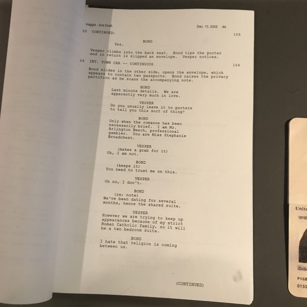 Casino Royale script james bond daniel craig