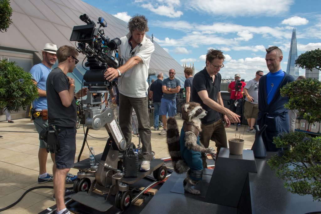 james gunn on set guardians of the galaxy