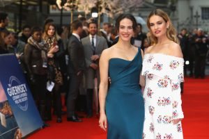 Jessica Brown-Findlay Lily James The Guernsey Literary and Potato Peel Pie Society World Premiere London Red Carpet