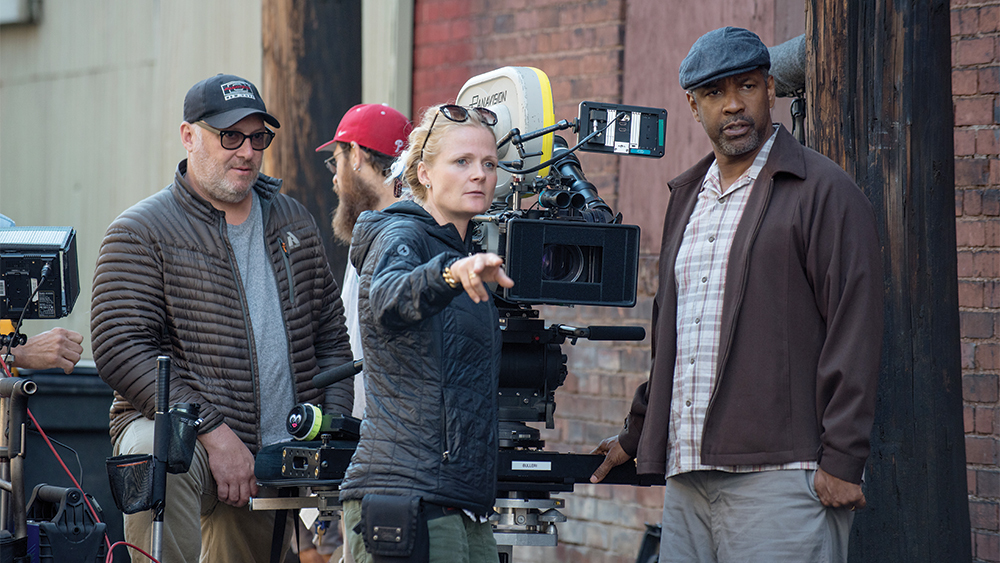 Director of Photography Charlotte Bruus Christensen and Director Denzel Washington on the set of Fences