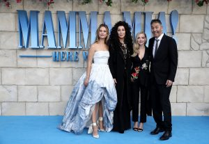 Lily James, Cher, Amanda Seyfried and Ol Parker attend the UK premiere of Mamma Mia: Here We Go Again held at Hammersmith Apollo, London.