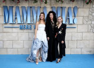 Lily James, Cher and Amanda Seyfried attend the UK premiere of Mamma Mia: Here We Go Again held at Hammersmith Apollo, London.