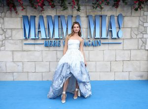 Lily James attends the UK premiere of Mamma Mia: Here We Go Again held at Hammersmith Apollo, London.