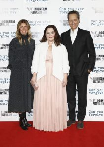 Amy Nauiokas, Melissa McCarthy and Richard E. Grant attend the UK premiere of Can You Ever Forgive Me? during the 62nd BFI London Film Festival.