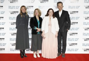 Amy Nauiokas, Tricia Tuttle, Melissa McCarthy and Richard E. Grant attend the UK premiere of Can You Ever Forgive Me? during the 62nd BFI London Film Festival.