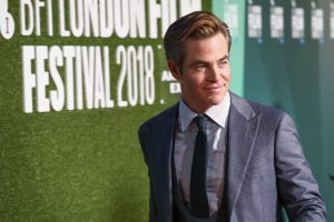 Chris Pine attends the premiere of Outlaw King during 62nd BFI London Film Festival