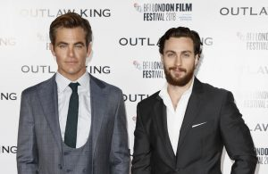 Chris Pine and Aaron Taylor-Johnson attends the premiere of Outlaw King during 62nd BFI London Film Festival