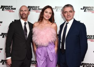 David Kerr, Olga Kurylenko and Rowan Atkinson attends the special screening of Johnny English Strikes Again in London