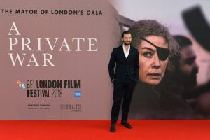 Jamie Dornan attends the European premiere of A Private War during the 62nd BFI London Film Festival in Leicester Square.