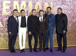 Mike Myers, Rami Malek, Ben Hardy, Joe Mazzello, Gwilym Lee and Graham King attend the world premiere of Bohemian Rhapsody at SSE Wembley Arena in London.